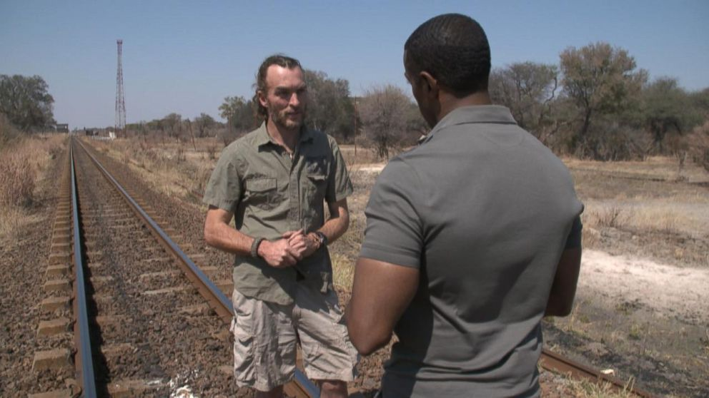 Brent Stapelkamp, one of the lion researchers who tracked Cecil with a GPS collar, shows ABC News' Ryan Smith the Zimbabwe park Cecil lived in.