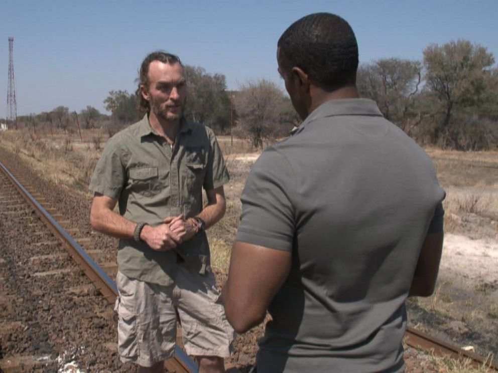 Brent Stapelkamp, one of the lion researchers who tracked Cecil with a GPS collar, shows ABC News Ryan Smith the Zimbabwe park Cecil lived in.