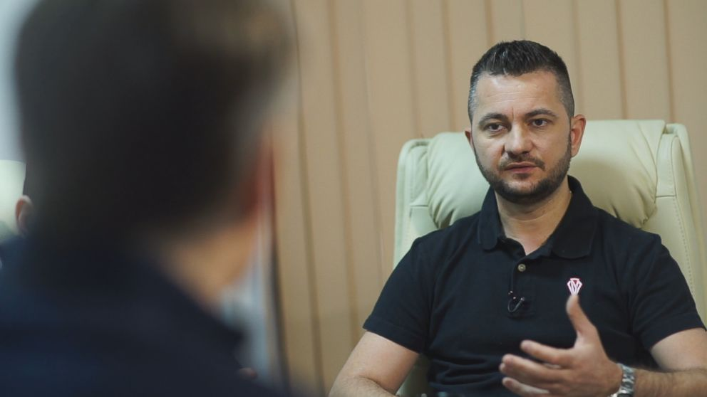 "Madalin Dumitru, the cofounder and CEO of Cyber Smart Defense, a leading cybersecurity firm, is seen here during a 2018 interview with ""Nightline."""