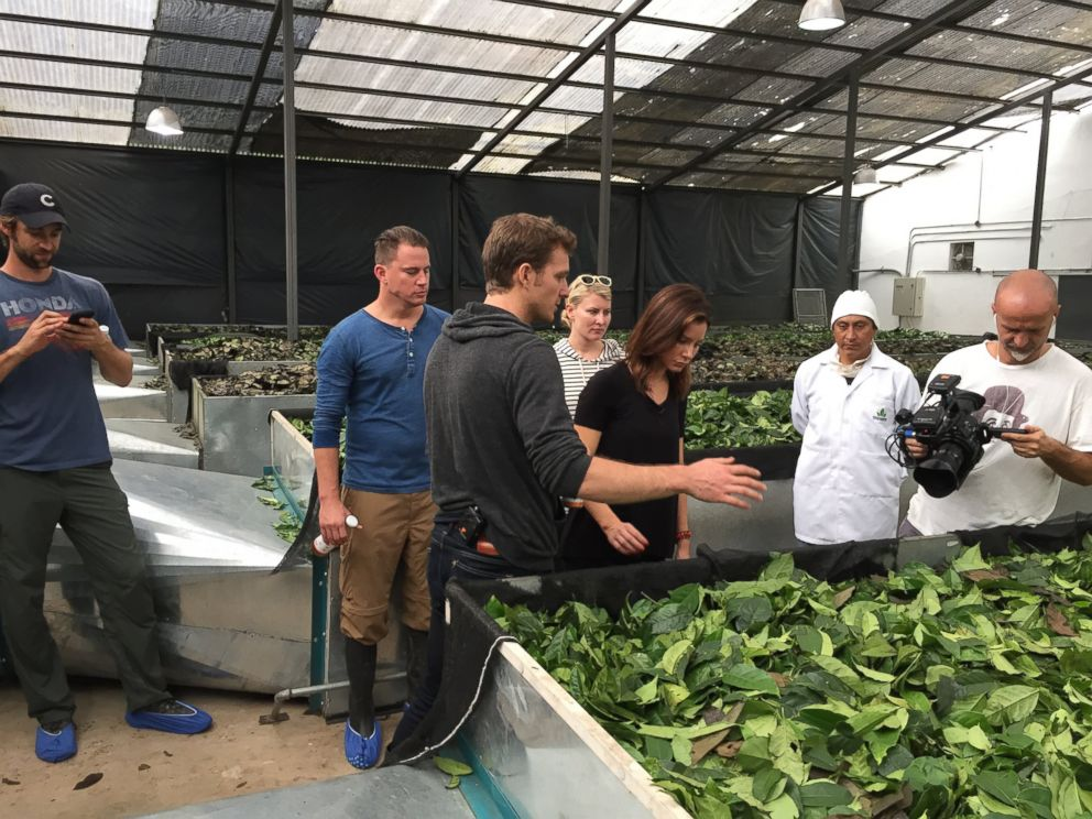 Runa co-founder Tyler Gage and Channing Tatum show ABCs Rebecca Jarvis inside the Runa factory in the Amazon jungle during an interview with ABC News Nightline.