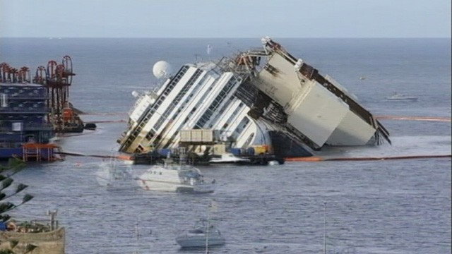 Costa Concordia Pulled Upright in Salvage Effort