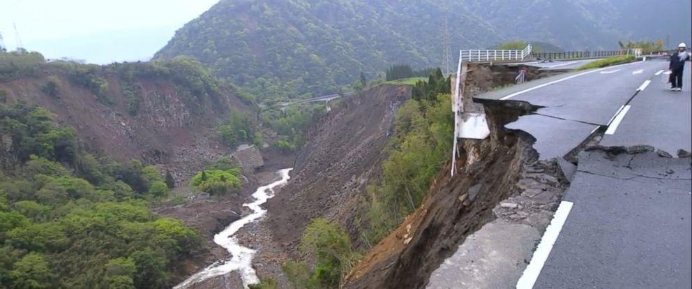 PHOTO: ABC News Matt Gutman surveys the twin earthquake damage in Mashiki, Japan.