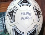 "PHOTO: A soccer ball that washed ashore in a remote Alaskan island reads ""Misaki Murakami. Work hard!"" The 16 year-old owner says the ball was washed away, along with his home, in Japans tsunami last year."
