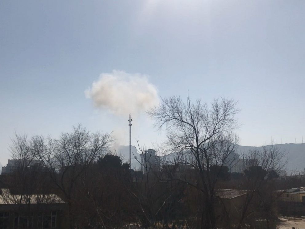 PHOTO: Smoke rises into the sky in Kabul, Afghanistan, following an explosion near the former Interior Ministrys building.