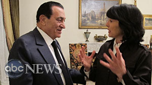 Photo: Christiane Amanpour interviews Egyptian President Hosni Mubarak