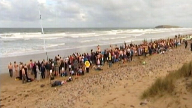 VIDEO: 400 people stripped naked to brave waters of the Gower Peninsula in Wales.