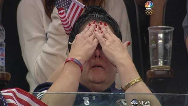 PHOTO: Gymnast John Orozco's mom Damaris hid her face while he is competing in the 2012 Summer Olympics in London, England.