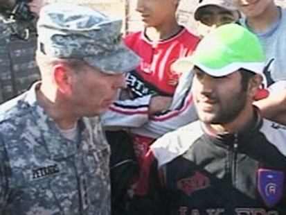VIDEO: General David Patraeus demonstrates the impact the surge has had on Baghdad.