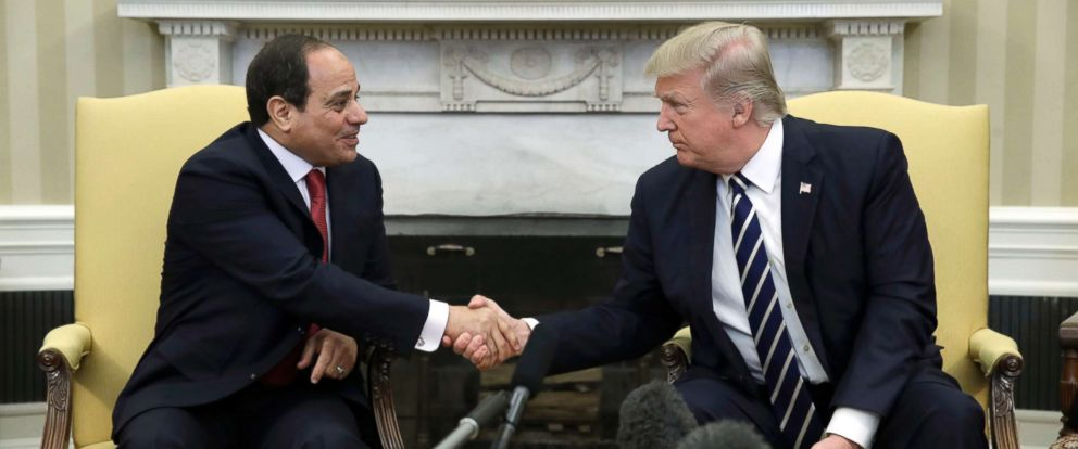 PHOTO: President Donald Trump shakes hands with Egyptian President Abdel Fattah al-Sisi in the Oval Office of the White House in Washington, April, 3, 2017.