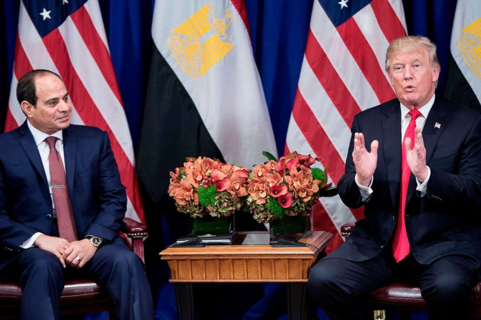 PHOTO: Egypts President Abdel Fattah el-Sisi listens while President Donald Trump makes a statement to the press before a meeting during the 72nd United Nations General Assembly, Sept. 20, 2017, in New York City.