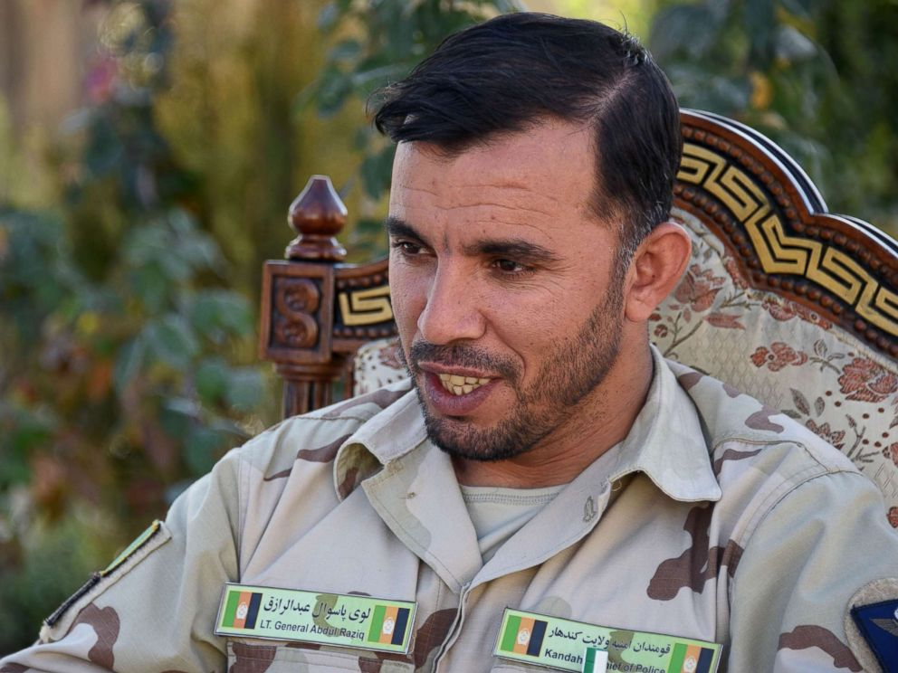 PHOTO: In this file photo from Jan. 2, 2018, Afghan General Abdul Raziq, police chief of Kandahar, speaks during a press conference in Kandahar province in Afghanistan.