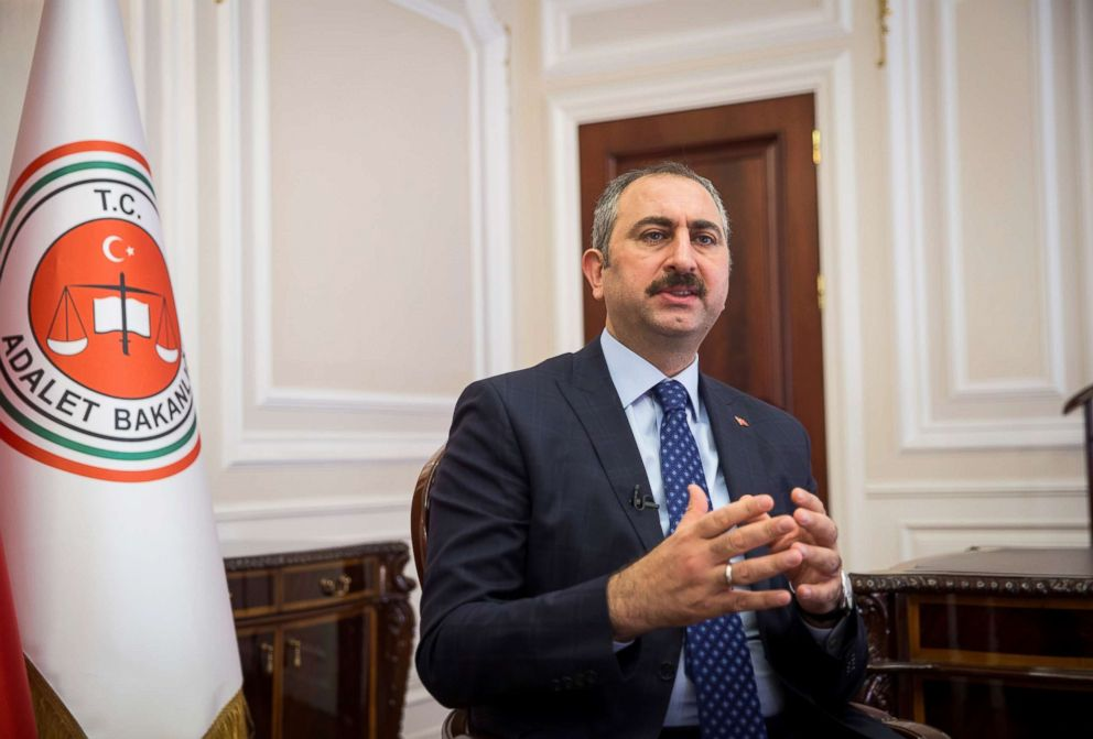 PHOTO: Turkeys Minister of Justice Abdulhamit Gul delivers a speech during an interview in Ankara, Turkey, July 10, 2018.