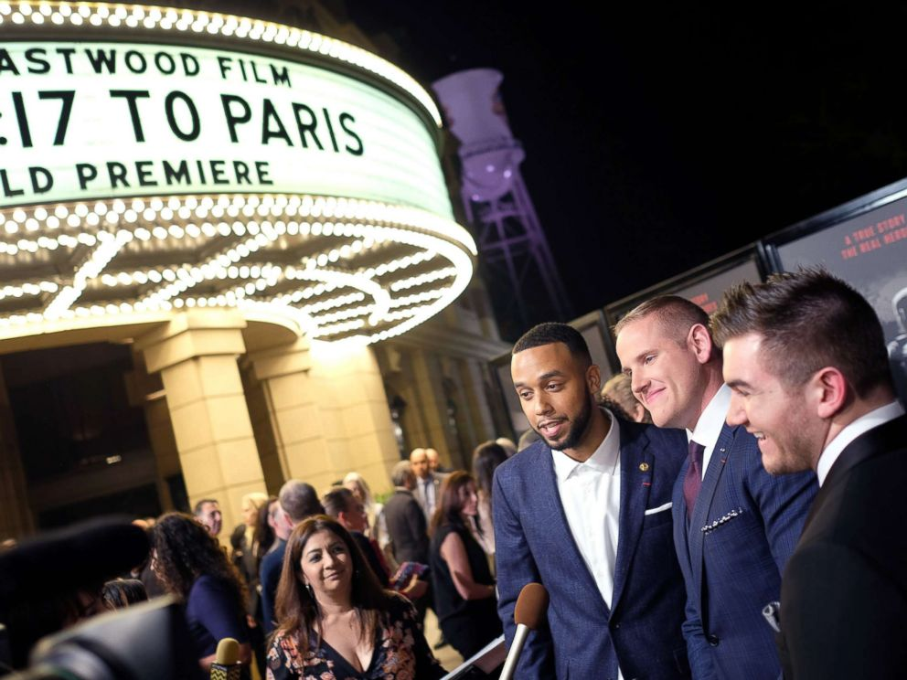 PHOTO: From left, Anthony Sadler, Alek Skarlatos and Spencer Stone arrive for the world premiere of The 15:17 to Paris in Burbank, Calif., Feb. 5, 2018.