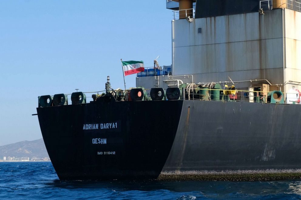 PHOTO: In this file photo taken on August 18, 2019, an Iranian flag flutters on board the Adrian Darya oil tanker, formerly known as Grace 1, off the coast of Gibraltar.