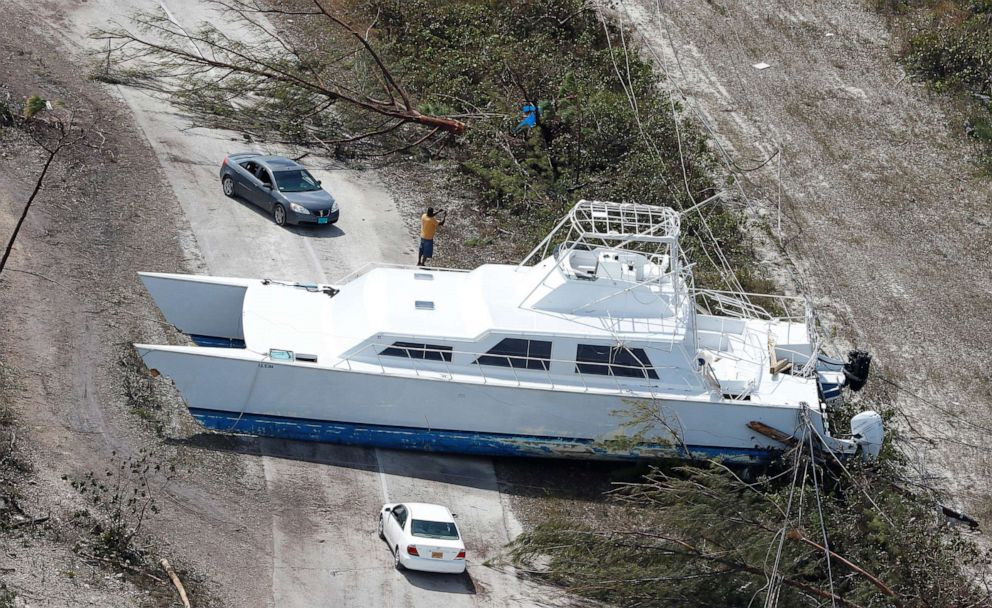 PHOTO: A boat tossed into the middle of a roadway after hurricane Dorian hit the Grand Bahama Island in the Bahamas, Sept. 4, 2019.