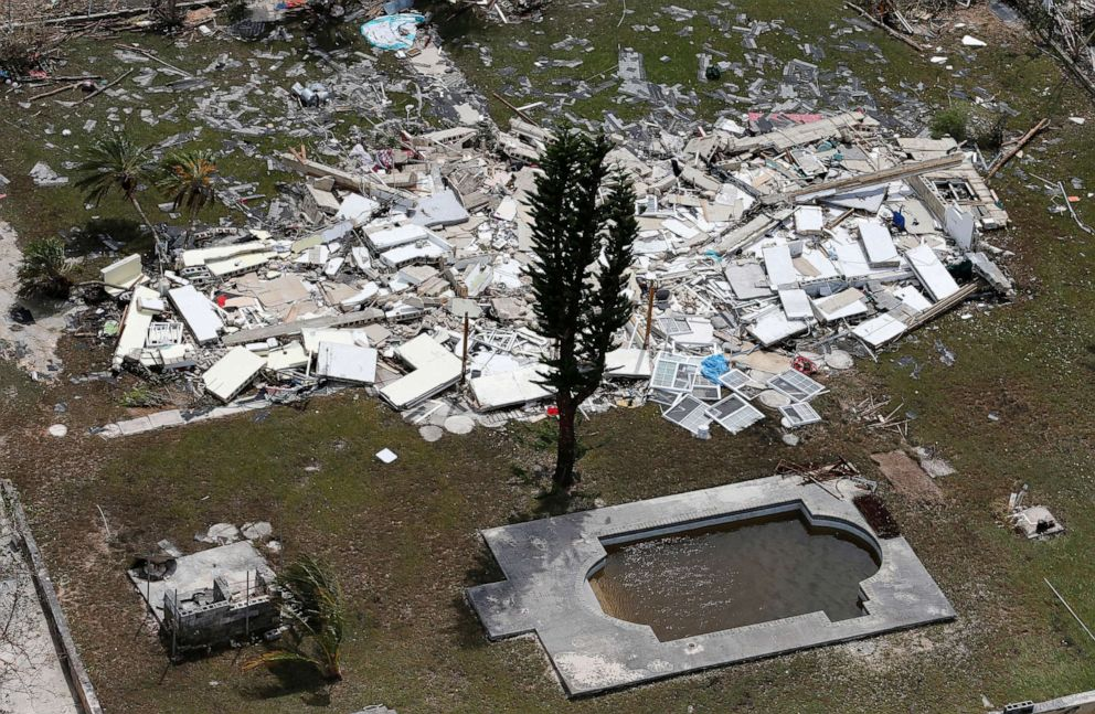 PHOTO: A flattened building scattered near a pool after hurricane Dorian hit the Grand Bahama Island in the Bahamas, Sept. 4, 2019.