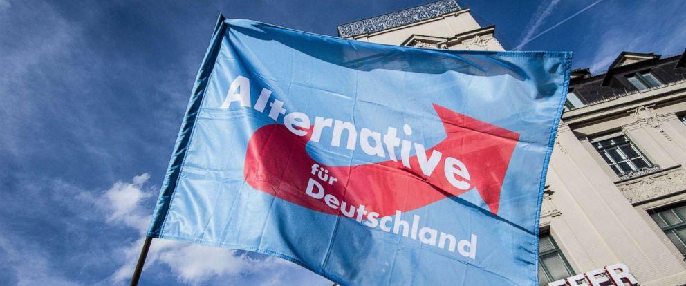 PHOTO: An AfD flag being waved at Munichs Karlsplatz Stachus, Sept. 22, 2018.