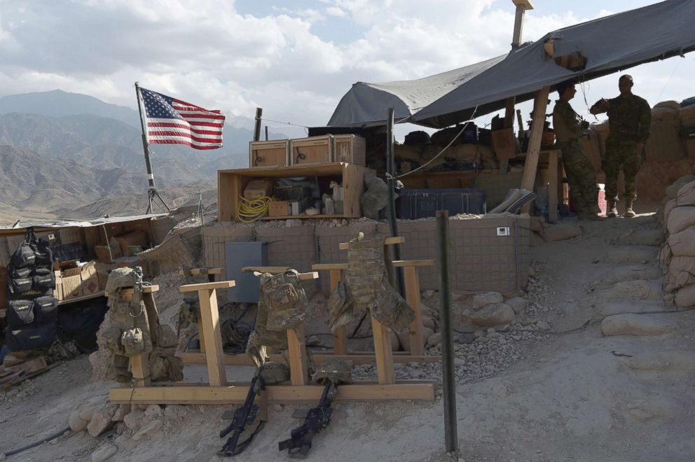 PHOTO: US Army soldiers at a checkpoint during a patrol against Islamic State militants in the eastern province of Nangarhar Province in Afghanistan, July 7, 2018.