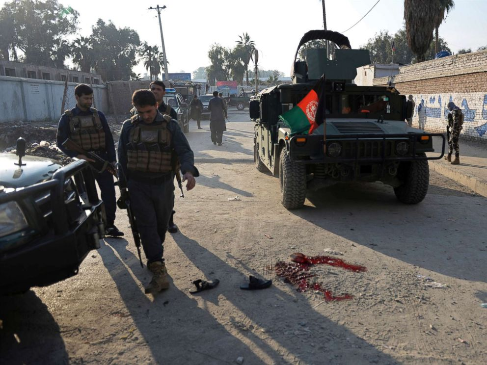 PHOTO: Afghan security police arrive at the scene of a suicide attack in Nangarhar province east of Kabul, Afghanistan, Nov. 23, 2017. An Afghan official said the attack has killed eight people and wounded 17.