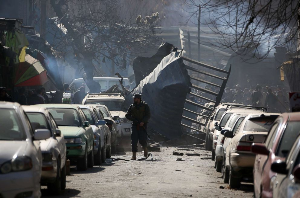 PHOTO: The blast site near Sidarat Square in Kabul, Afghanistan is pictured Jan. 27, 2018.