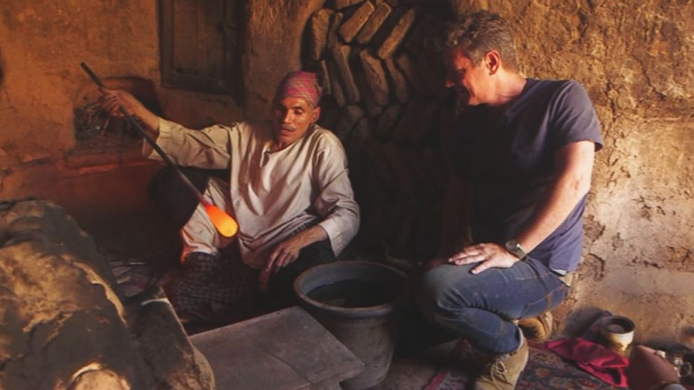 A glassblower practices his craft during an interview with ABC News' Ian Pannell in the western Afghanistan city of Herat.