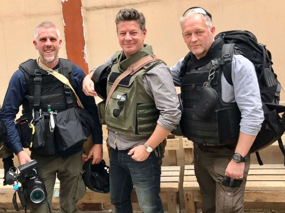 PHOTO: ABC News photographer James Gillings, ABC News Senior Foreign Correspondent Ian Pannell, and ABC News producer Bruno Roeber on a reporting trip in Afghanistan in June 2018.