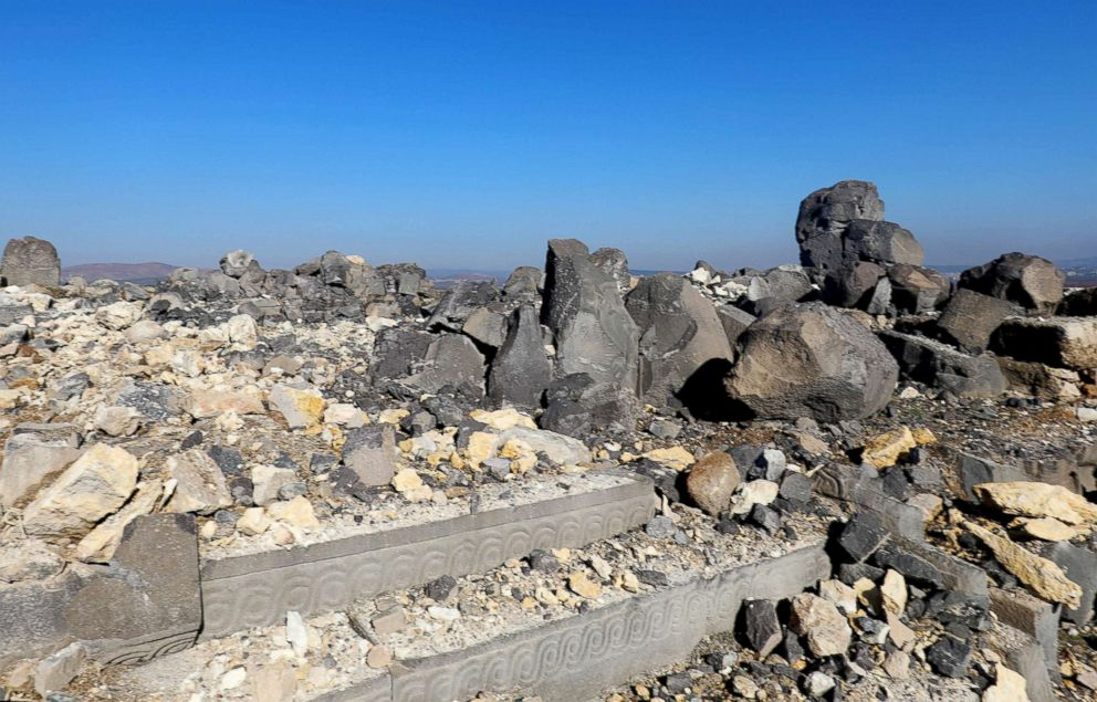 PHOTO: Destruction is seen on Jan. 29, 2018, at the ancient temple of Ain Dara, some four miles from Afrin, after it was damaged in Turkish air strikes according to Syrias antiquities department and the Britain-based Syrian Observatory for Human Rights.