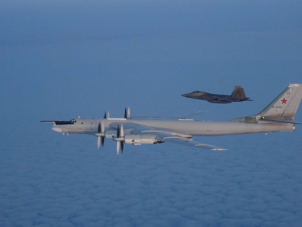 PHOTO: U.S. and Canadian military aircraft intercepted two Russian Tu-95 Bear bombers that entered the Alaskan and Canadian Air Defense Identification Zones on August 8, 2019, according to North American Aerospace Defense Command.