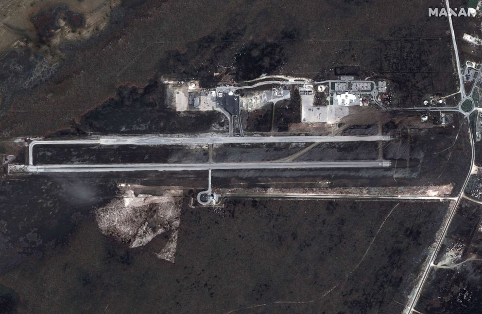 PHOTO: After: Leonard Thompson International Airport on Great Abaco Island after Hurricane Dorian swept through the Bahamas, in a satellite image taken Sept. 5, 2019.