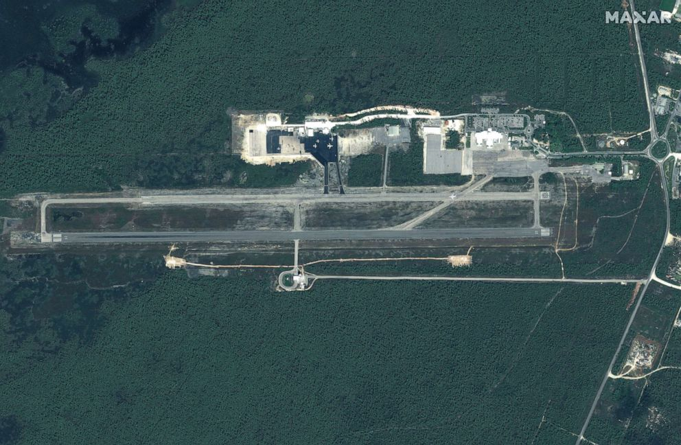 PHOTO: Before:Leonard Thompson International Airport on Great Abaco Island before Hurricane Dorian struck the Bahamas in a satellite image taken Oct. 25, 2018.