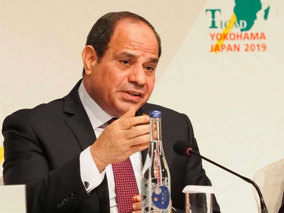 PHOTO: African Union Chairperson and Egypts President Abdel Fattah al-Sisi answers a question during a joint press conference of the seventh Tokyo International Conference on African Development (TICAD) in Yokohama on Aug. 30, 2019.
