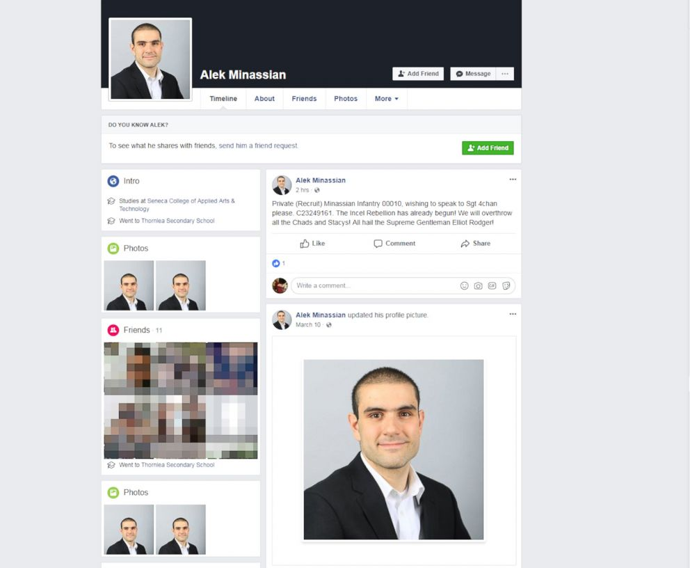 PHOTO: Alek Minassian had just one post on his Facebook account, which was taken down soon after the van attack in Toronto on April 23, 2018.