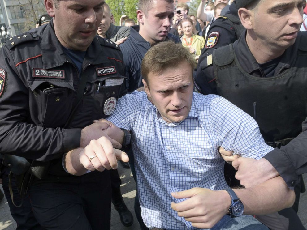 PHOTO: Chairman of the Party Progress Party Alexei Navalny (center) is detained during a demonstration against President Vladimir Putin in Moscow, Russia, May 5, 2018.
