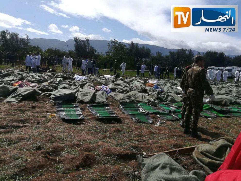 PHOTO: Bodies of victims are covered with blankets after Algerian military plane crashed near an airport outside the capital Algiers, Algeria, April 11, 2018 in this still image taken from a video.