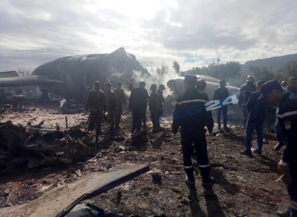 PHOTO: Algerian news agency ALG24 posted photos of firefighters and soldiers at the scene of a fatal military plane crash near Boufarik military base near the Algerian capital, Algiers, April 11, 2018.