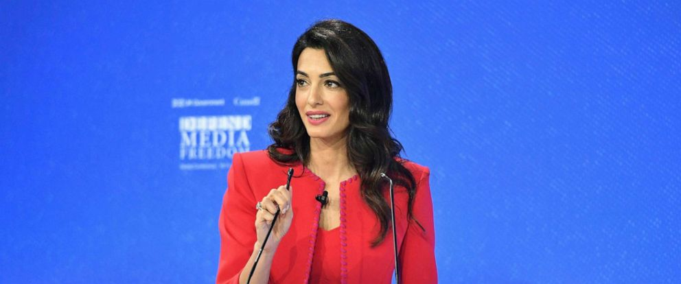PHOTO: Amal Clooney spekas during the Global Conference for Media Freedom in London, July 10, 2019.