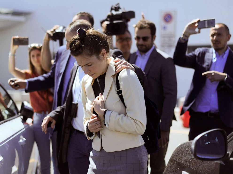 PHOTO: Amanda Knox, who visited Italy to speak at the Criminal Justice Festival, arrives at Milans Linate airport, Italy, June 13, 2019.
