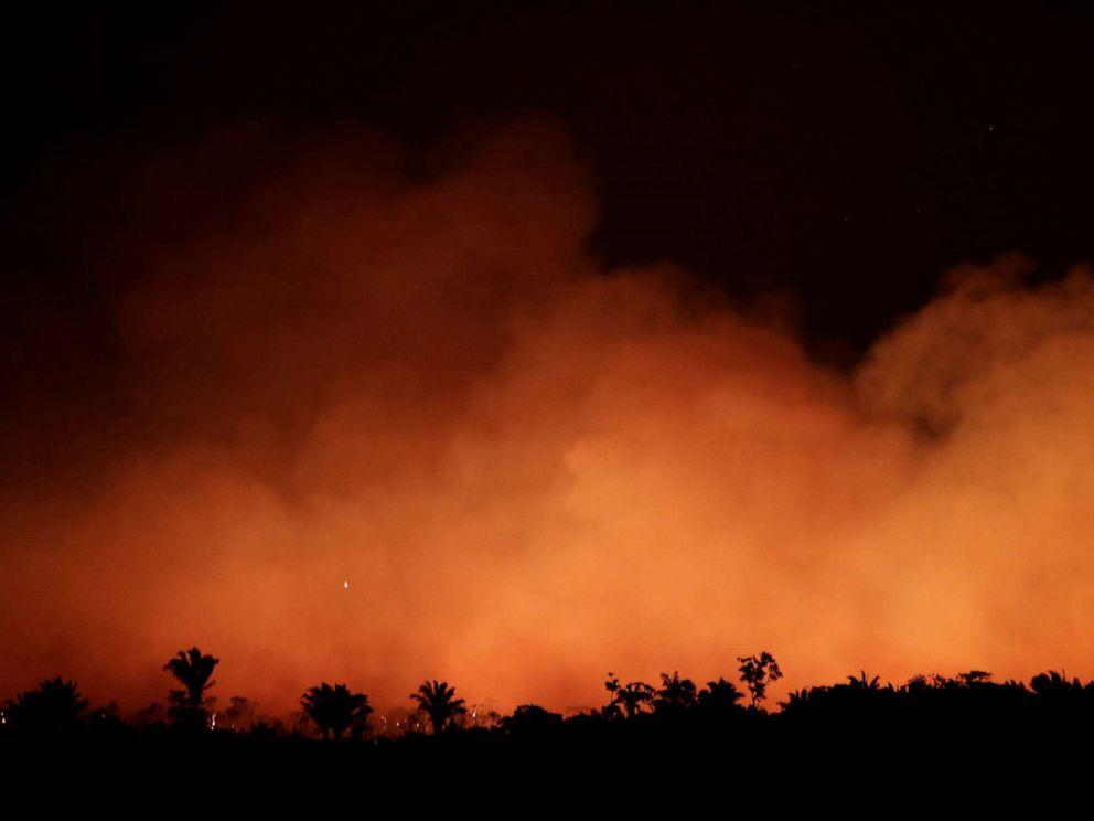 PHOTO: Smoke billows during a fire in an area of the Amazon rainforest near Humaita, Amazonas State, Brazil, Brazil August 17, 2019.