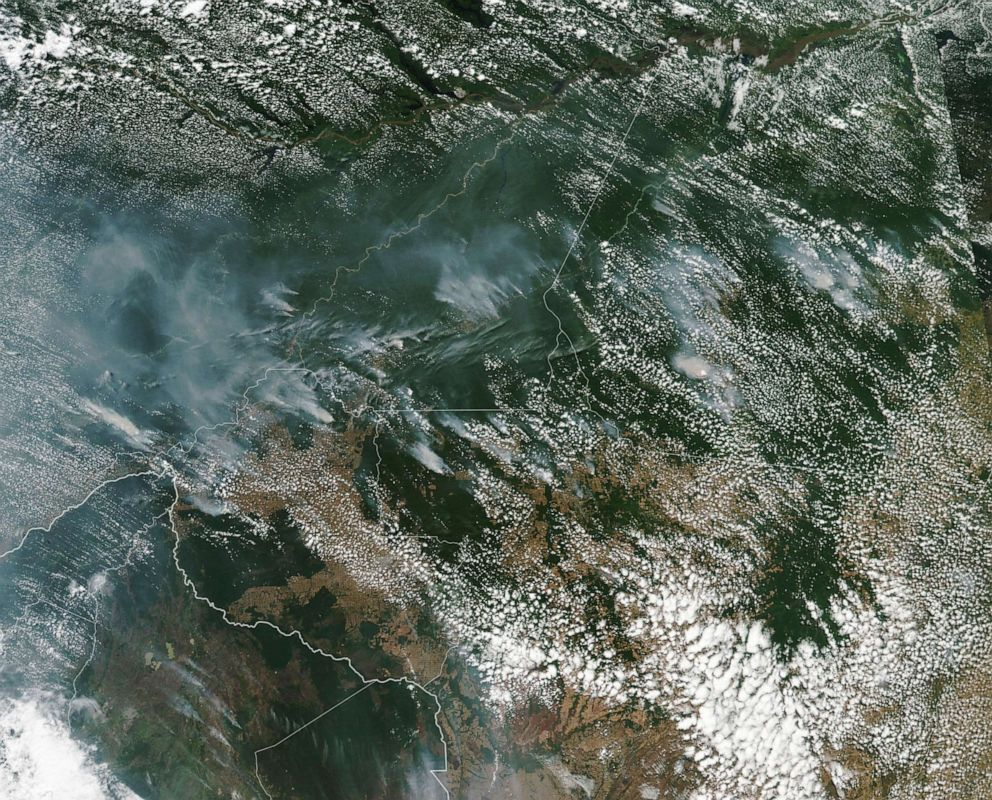 PHOTO: This Aug. 13, 2019, NASA satellite image shows fires burning in the Brazilian Amazon forest. Brazils National Institute for Space Research said there have been 74,155 wildfires so far this year, an 84 percent increase over last year.