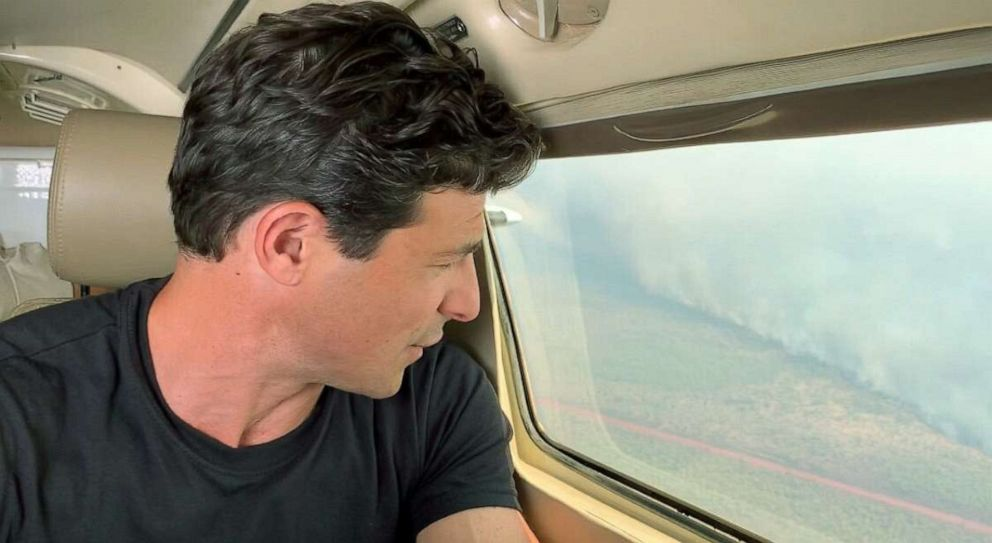 PHOTO: ABC News Matt Gutman reports on the fires engulfing the Amazon, August 2019.