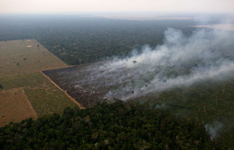 PHOTO: Smoke billows from a fire burning in an area of the Amazon rainforest near Porto Velho, Rondonia State, Brazil, Sept. 17, 2019.