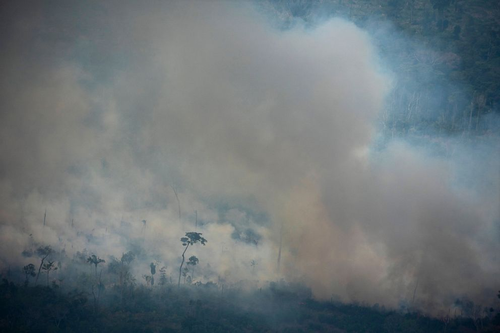 PHOTO: In this Friday, Aug. 23, 2019 photo, fire consumes an area near Porto Velho, Brazil.