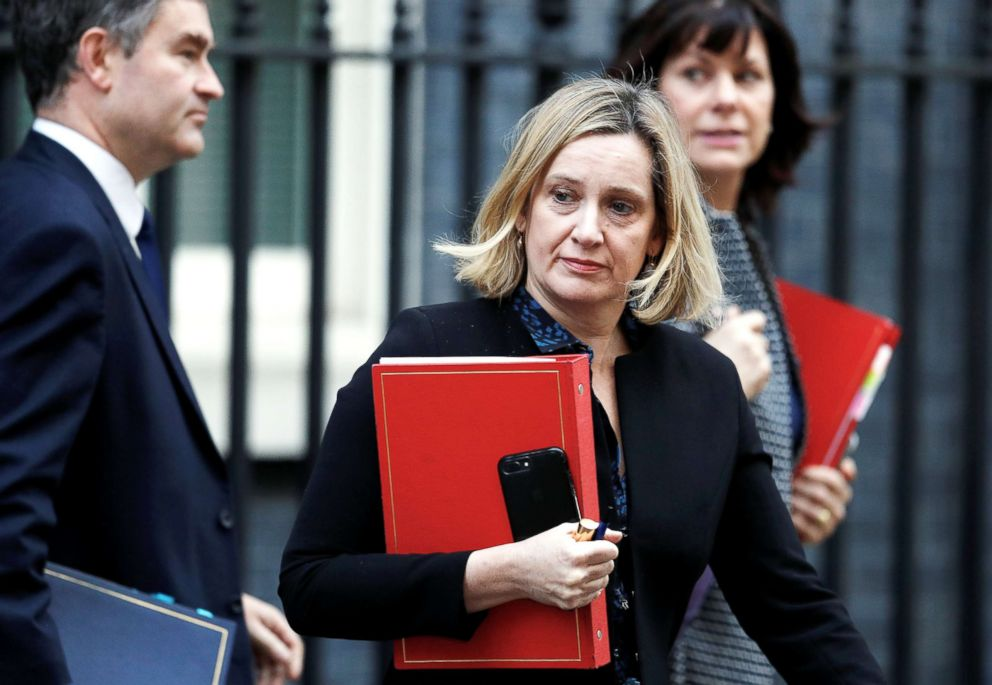 PHOTO: Britains Secretary of State for Justice David Gauke, Britains Secretary of State for Work and Pensions Amber Rudd and Britains Minister of State for Energy and Clean Growth Claire Perry are seen outside Downing Street in London, Feb. 26, 2019.