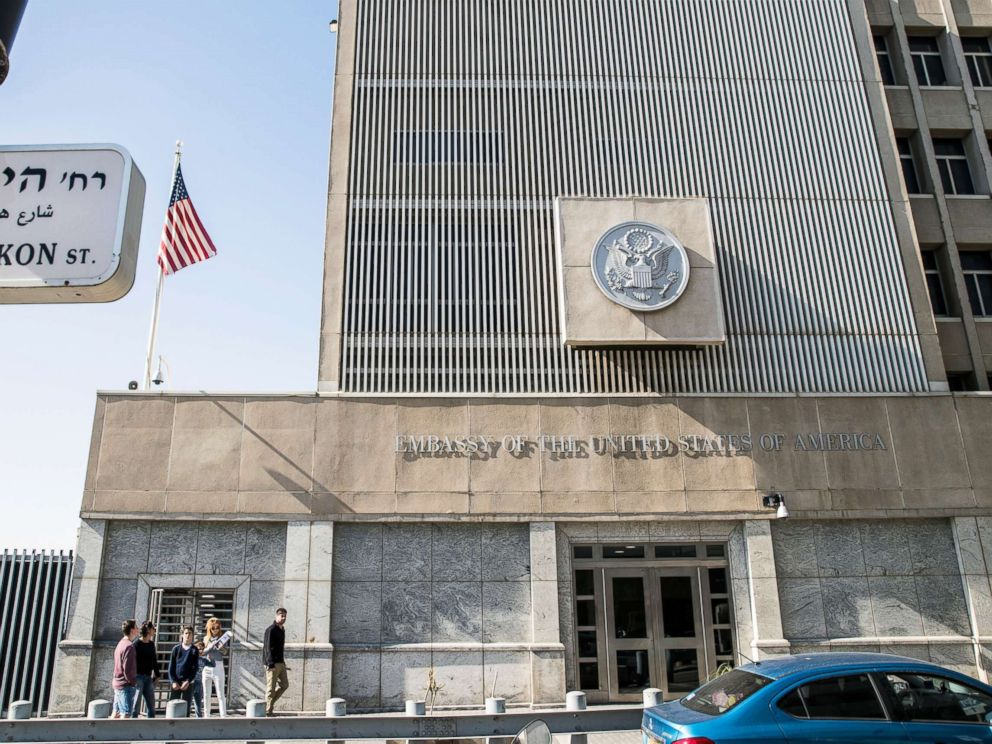 PHOTO: A picture taken on Jan. 20, 2017 shows the exterior of the U.S. Embassy building in the Israeli coastal city of Tel Aviv.