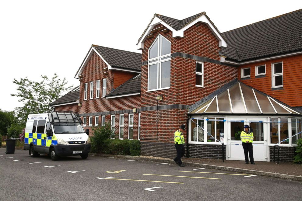 PHOTO: Police officers are seen outside Amesbury Baptist Centre in Amesbury, nine miles north of Salisbury, southern England, on July 4, 2018.