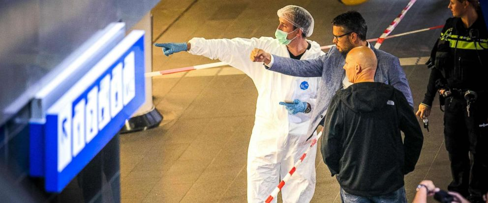PHOTO: Policemen and forensics are at work after a stabbing incident at the central station in Amsterdam, Aug. 31, 2018.