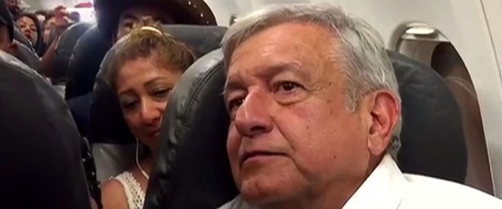 PHOTO: Mexico's president-elect Andres Lopez Obrero was stranded inside a commercial flight in Oaxaca, Mexico due to bad weather.