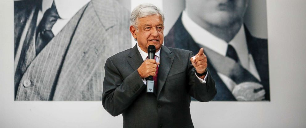 PHOTO: Andres Manuel Lopez Obrador, Mexicos president-elect, speaks during a press conference in Mexico City, Mexico, Nov. 9, 2018.