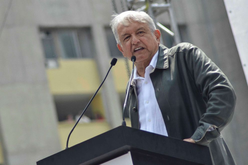 PHOTO: Mexicos President-elect Andres Manuel Lopez Obrador speaks at a rally commemorating the 50th anniversary of a bloody reprisal against students, at the Tlatelolco Plaza in Mexico City, Sept. 29, 2018.