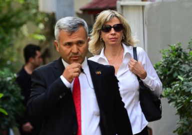 PHOTO: U.S consulate officials escort Norine Brunson, wife of American pastor Andrew Brunson, as she departs for her husbands court hearing on Oct. 12, 2018 in Izmir, Turkey.